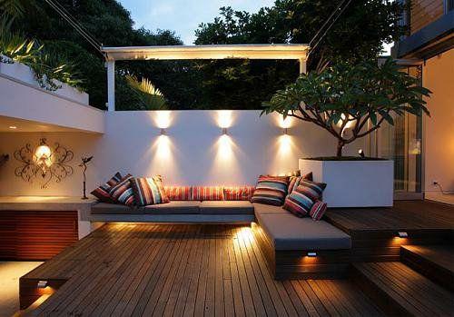 Terrassen Sitzecke kleine urbane garten designs holz bodenbelag baum sitzecke garten