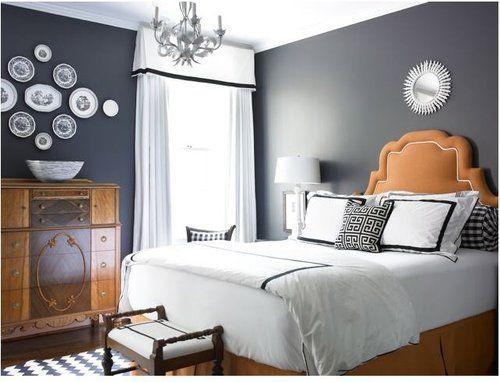 Charcoal Burnt Orange White Grey Bedroom Design Bedroom