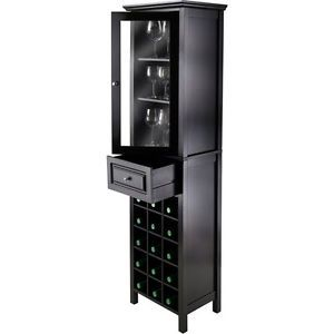 Wine Tower Wood Tall Storage Cabinet Mini Home Pub Bar Wine Rack ...