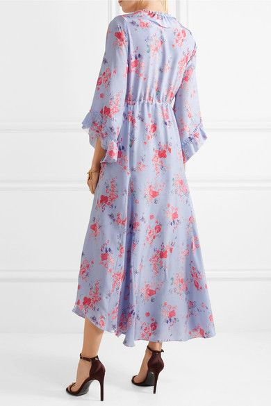 Maddison Ruffled Floral-print Silk Crepe De Chine Midi Dress - Lilac VILSHENKO Outlet Best Prices Cheap Online 2018 Cheap Price Dxry4s0