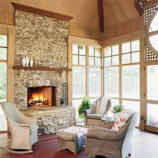 Inside view of the screened in porch I just pinned.  Note how light and airy the porch is due to the vaulted ceiing and two dormer windows...  Also love the lattice and circular window.  Fireplace makes it suitable for year round use if you have windows as well as screens!