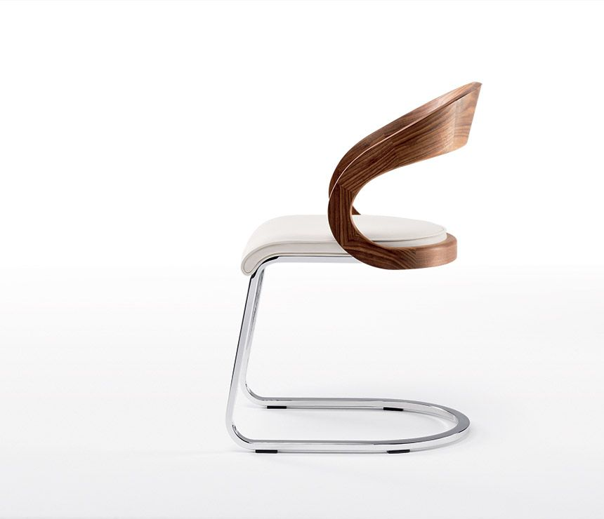 High End Luxury Cantilever Dining Chair Shown In Walnut White Leather And Chrome