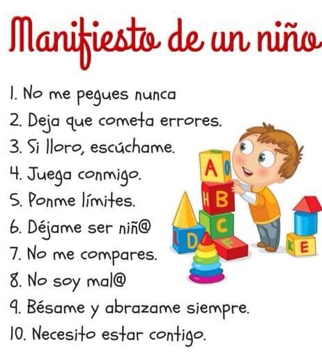 Manifiesto de un niño | Psicologia niños, Educacion infantil ...