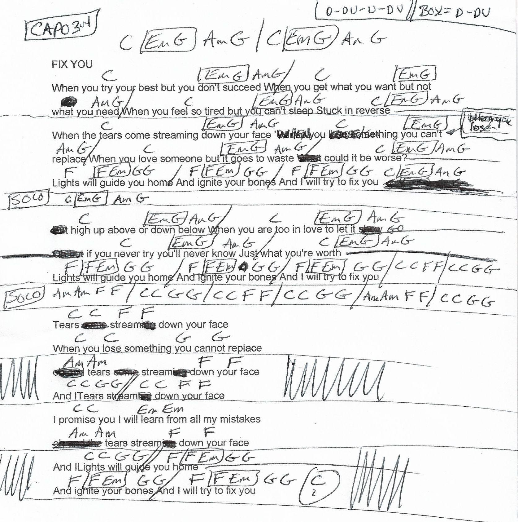 Fix You Coldplay Guitar Chord Chart Capo 3rd 2018 Guitar