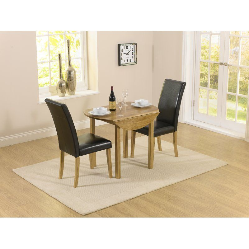 Round Extending Dining Set 2 Chair Wooden Black Faux Leather Captivating 2 Chair Dining Room Set Design Ideas