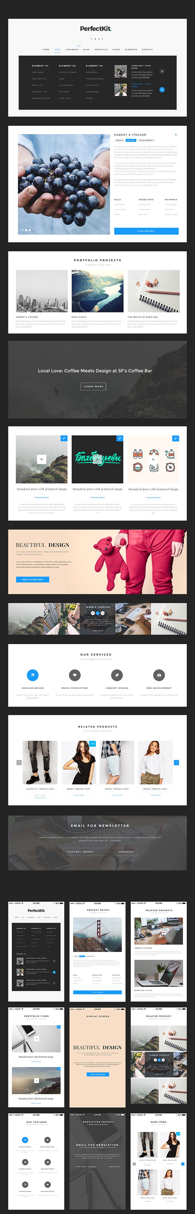 Freebie: PerfectKit – desktop & mobile ready modern UI kit ...