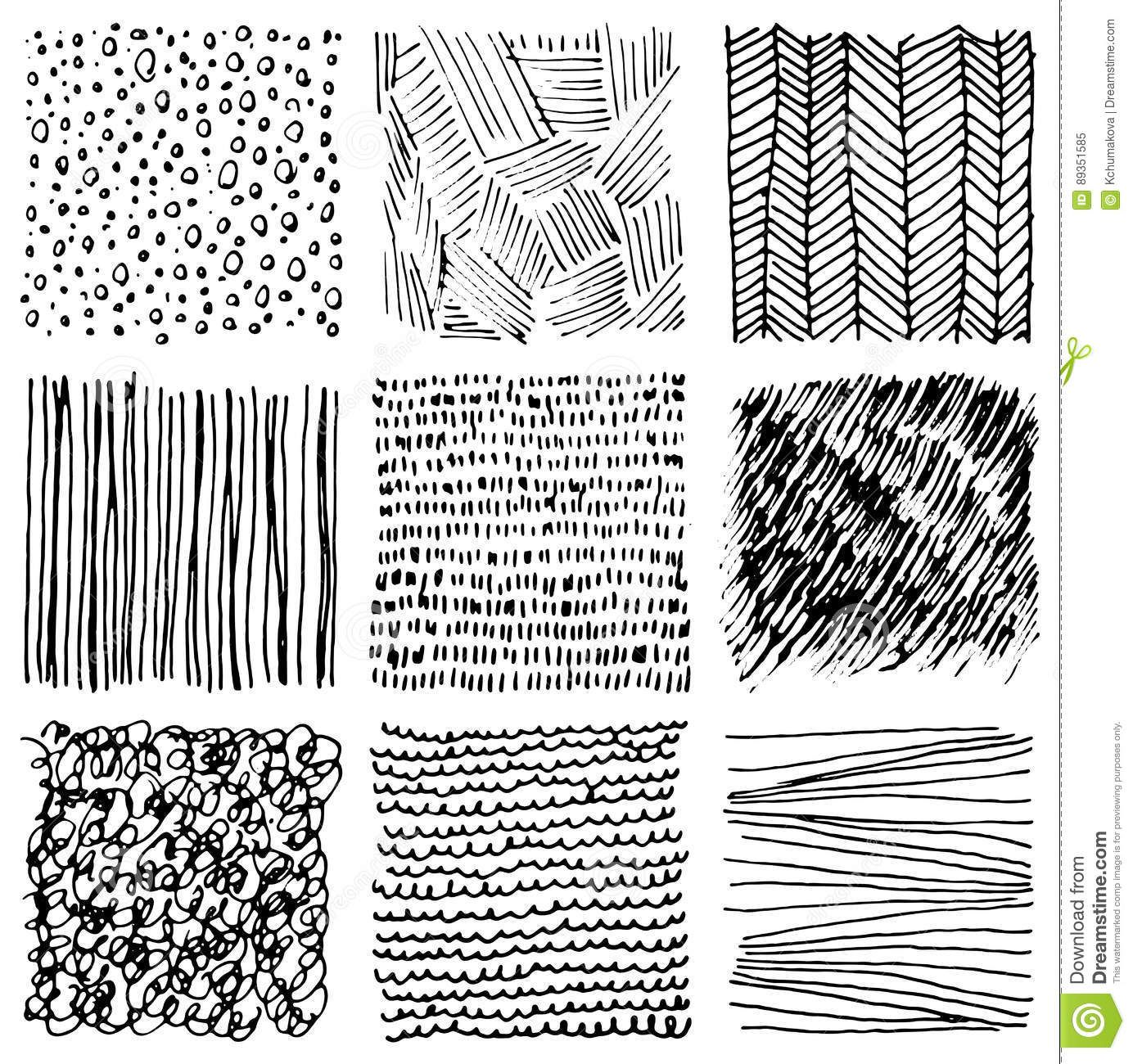 Set Of Hand Drawn Ink Textures Simple Scratchy Patterns