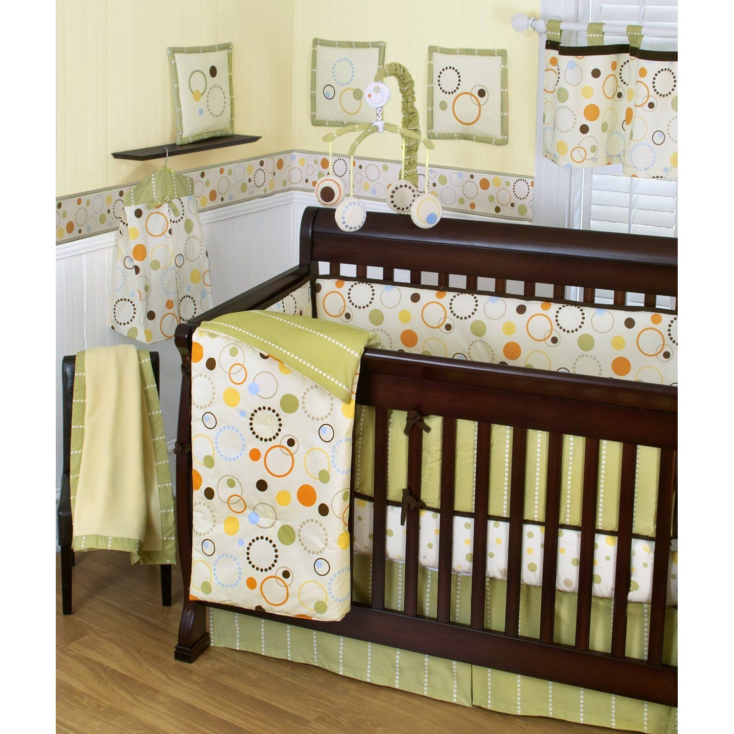 Sumersault Pop Dot 10 Piece Crib Set Tan Green
