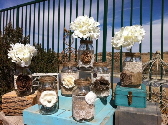 rustic wedding decor 15 bulk burlap lace quart mason jars lanternsvases head