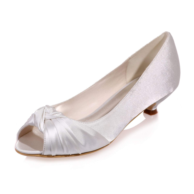 Creativesugar Ladys Open Toe Kitten Heel Satin Dress Shoes Bridal Wedding Heels Womens Wedding Shoes Wedding Shoes Low Heel Kitten Heel Wedding Shoes