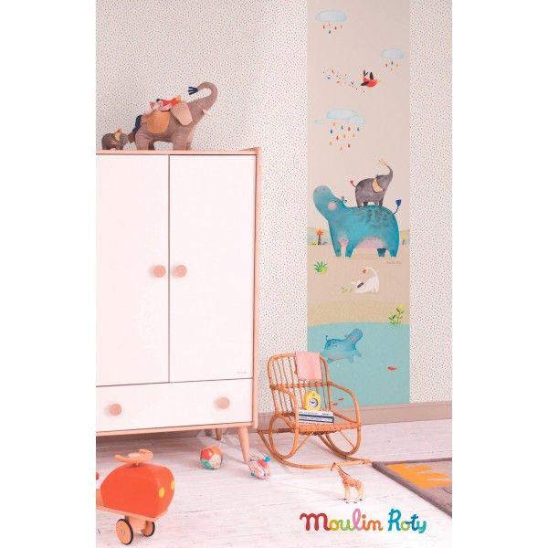 Papier peint gouttes color es papoum moulin roty de for Papier peint lutece chambre