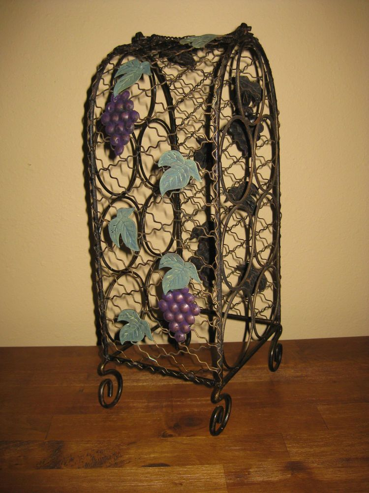 Wrought Iron Wine Rack 7 Bottle Rack Tree Hand Forged Rustic