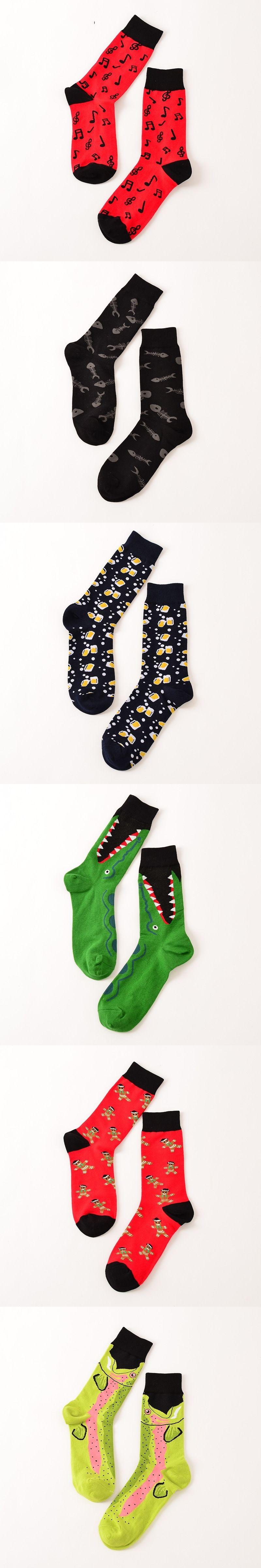 High Quality Socks Men Musical Note Beer Printed Cotton Hip Hop Long Happy  Funny Sox Harajuku 7f6b6c2be5f