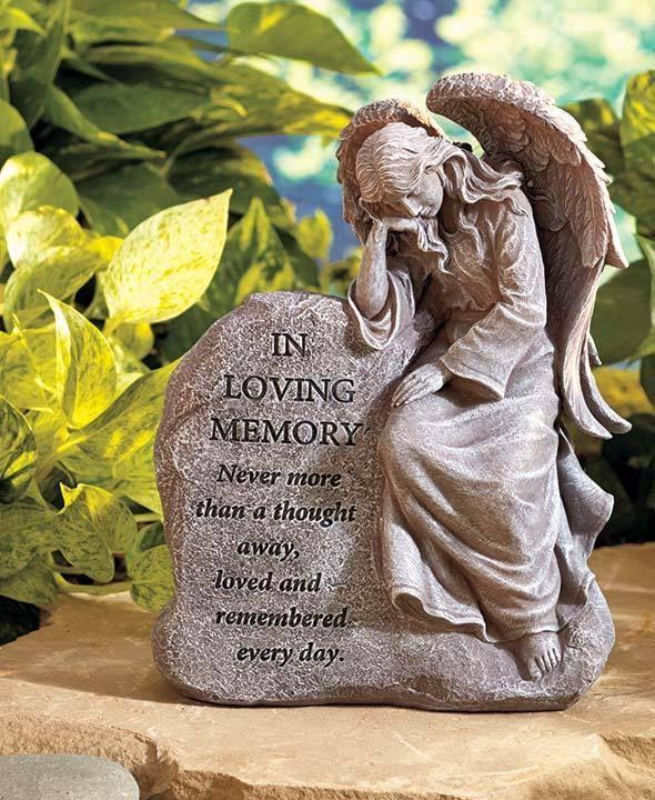 Captivating Memorial Garden Yard Angel Statue Grave Marker Engraved Message Outdoor  Décor