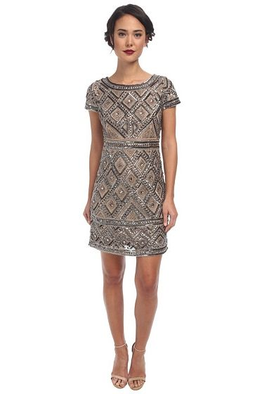 geometric beaded shift dress from papell