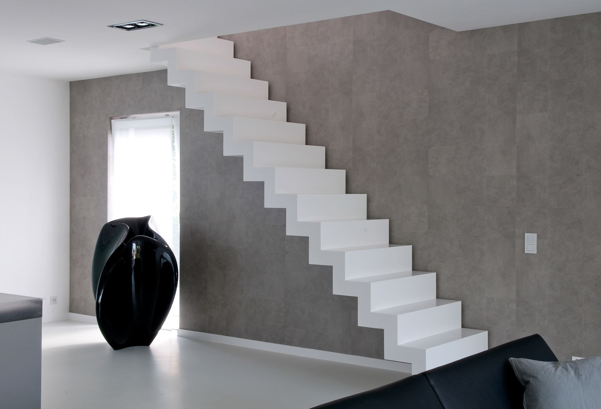white corian stairs made by belgian brand genico cool. Black Bedroom Furniture Sets. Home Design Ideas