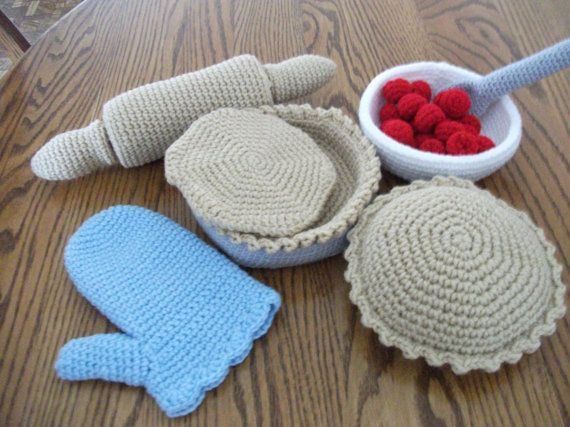 Crochet Pie Baking Set Made to Order by beccabeargirl on Etsy, $32.00