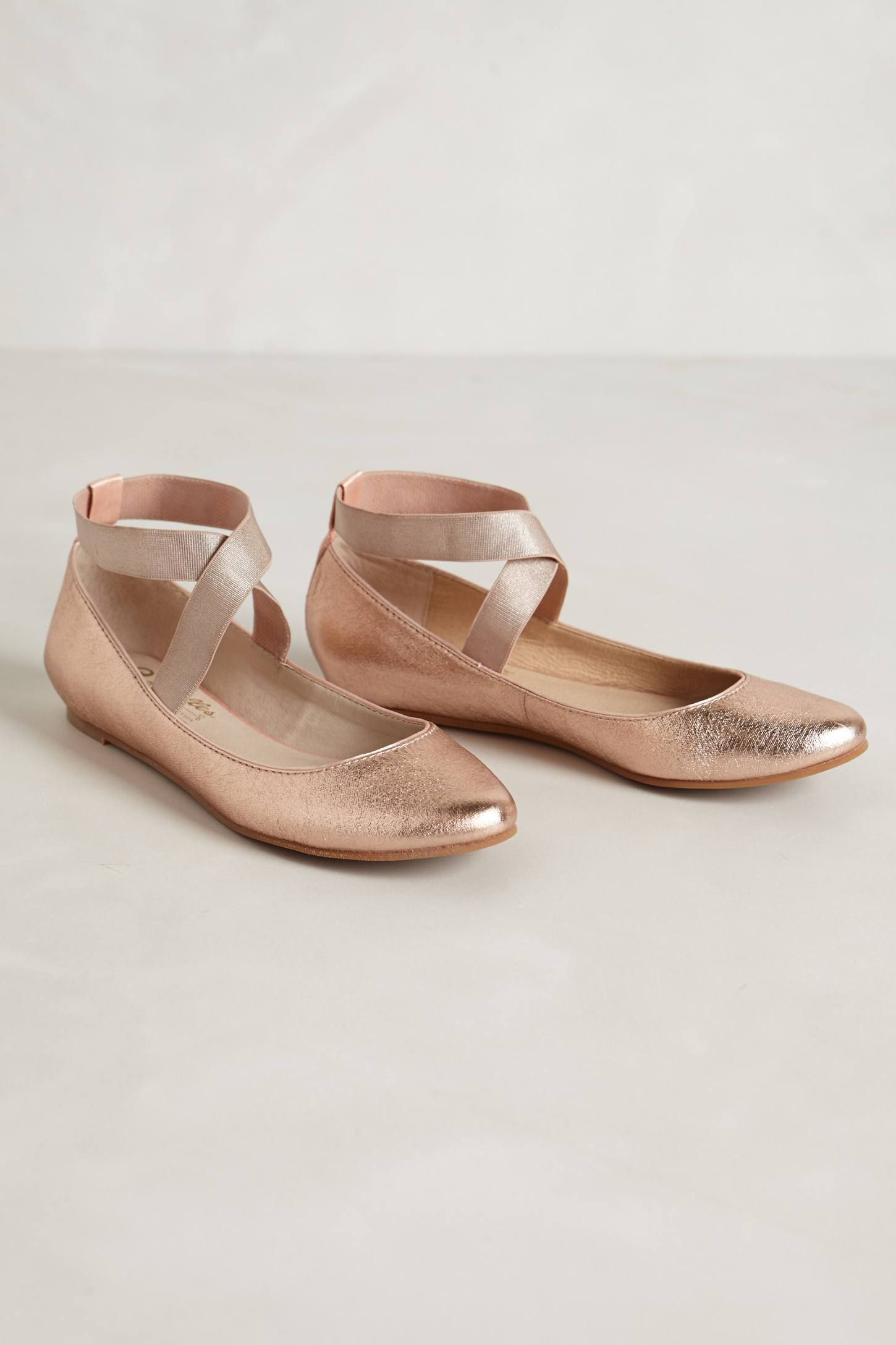 98e490906cf4fb Rose gold flats. These would be so nice under a long and puffy wedding  dress. Just comfortable enough but with a bit of glam!