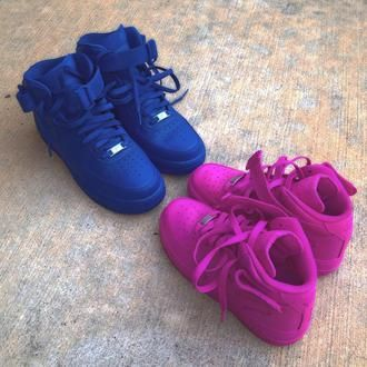 wholesale dealer 017d9 3d351 store shoes high top sneakers nike air force 1 nike nike sneakers hot pink  blue 3b12a