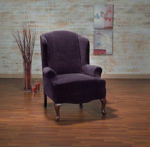 Hanover Aubergine Wing Chair Slipcover Plush Velvety