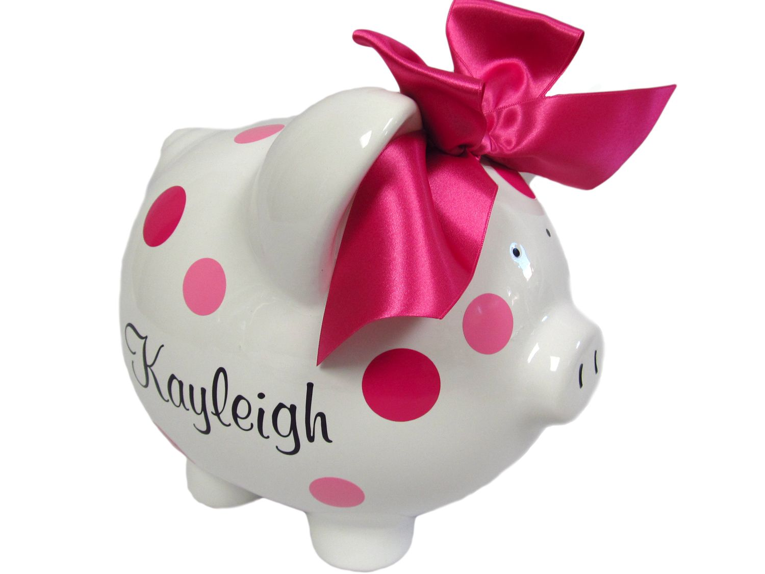 Personalized Piggy Bank Polka Dot Banks This Adorable Is Custom Made To Order Just For You