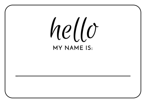 Tackle Your Check In Table With With This Simple Hello My Name Is Name Tag Sticker Design This Write In Name Name Tag Templates Wedding Name Tags Name Tags