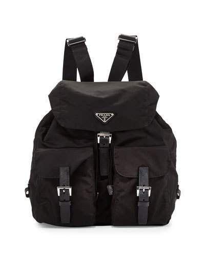 379916813d4906 Prada Vela Large Two-Pocket Backpack, Black (Nero) | Shopping List