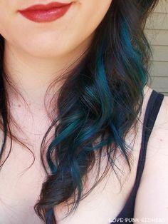 Hidden Blue And Purple Spots With A Black Lob Jet Hair Kaboo Highlights