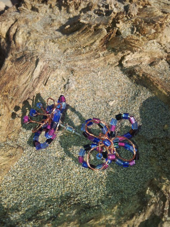 Harlequin Flower Purple and Blue Beaded Copper by OnenJewellery, £12.00