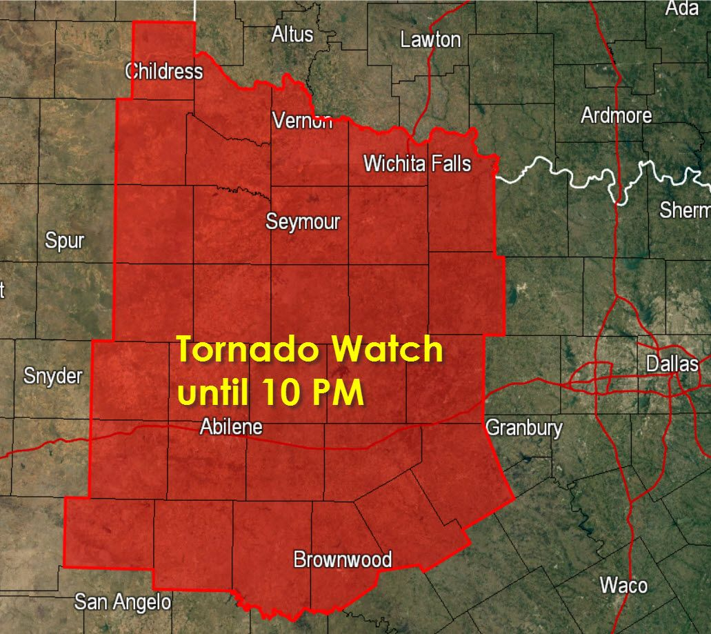 Tornado Watch For Big Country Northwest Tx Until 10 Pm Texas Storm Chasers Texas Storm Tornado Watch Severe Weather
