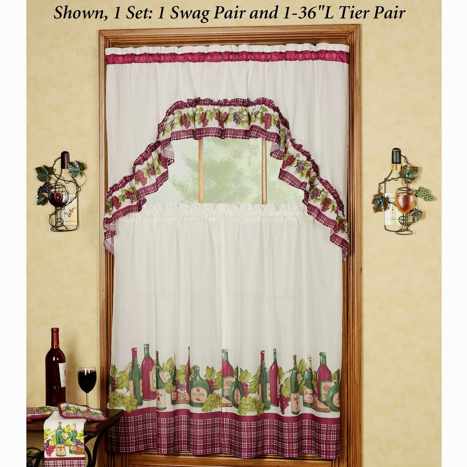 Kitchen curtains green gingham. Kitchen curtains grapes and wine ...
