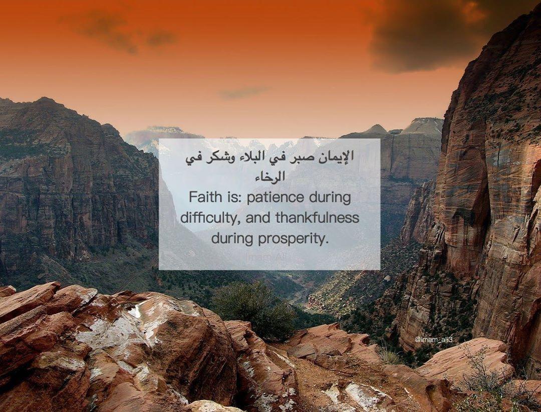 Imam Ali As On Instagram الإيمان صبر في البلاء وشكر في الرخاء الامام علي Patience Thankful Faith