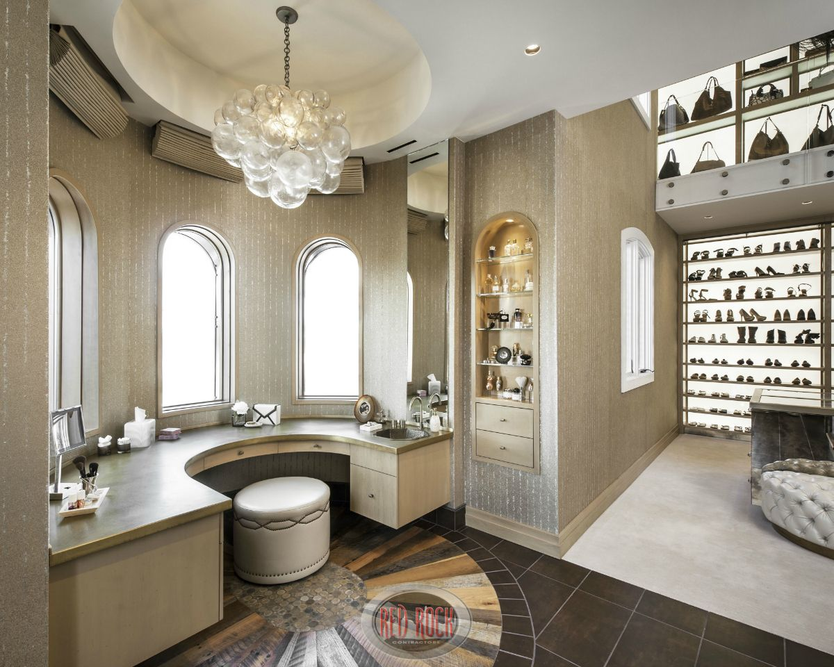 Master bathrooms with built in closets - Walk In Closet Number Two Includes A Semi Circular Custom Built In Vanity And