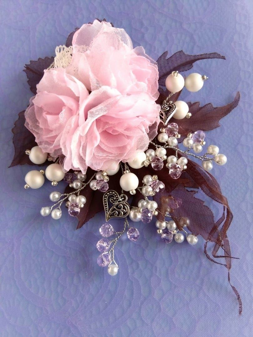 Baby Snap Clip Bridal Champagne and Ivory Silk Flower Hair Pin Brooch Girl Hair Clip