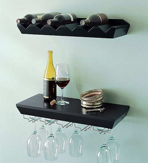 Welland Espresso Wine Rack Floating Wall Shelf With Gl Holder Love This