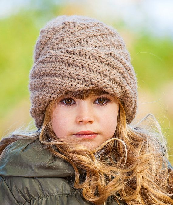Knitted Spiral Beanie Womens Chunky Hat Girls Knitted Hat Warm