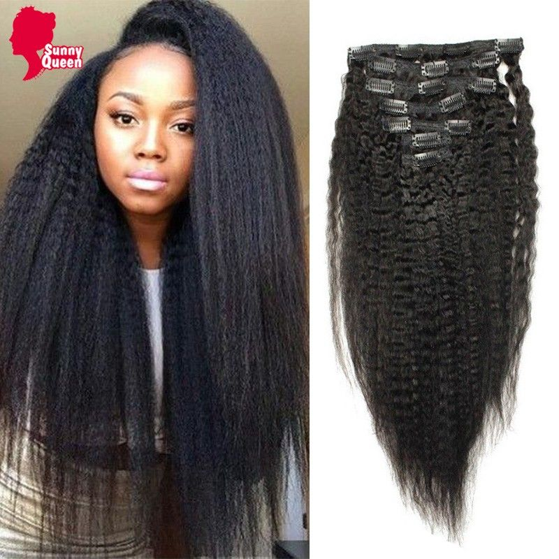 7a Clip In Human Hair Extensions Kinky Straight 120g 100 Mongolian