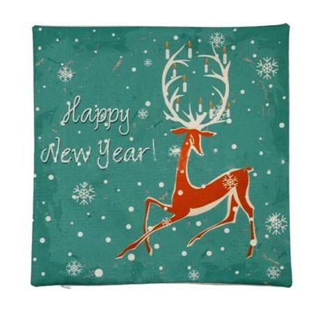 Piccocasa Linen New Year Deer Pattern Throw Cushion Cover Pillow Case - Walmart.com