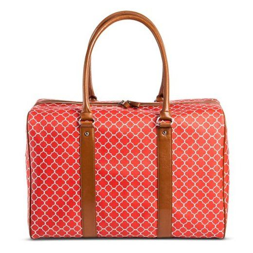 Red, white and brown patterned carry on bag under $100. | essence.com