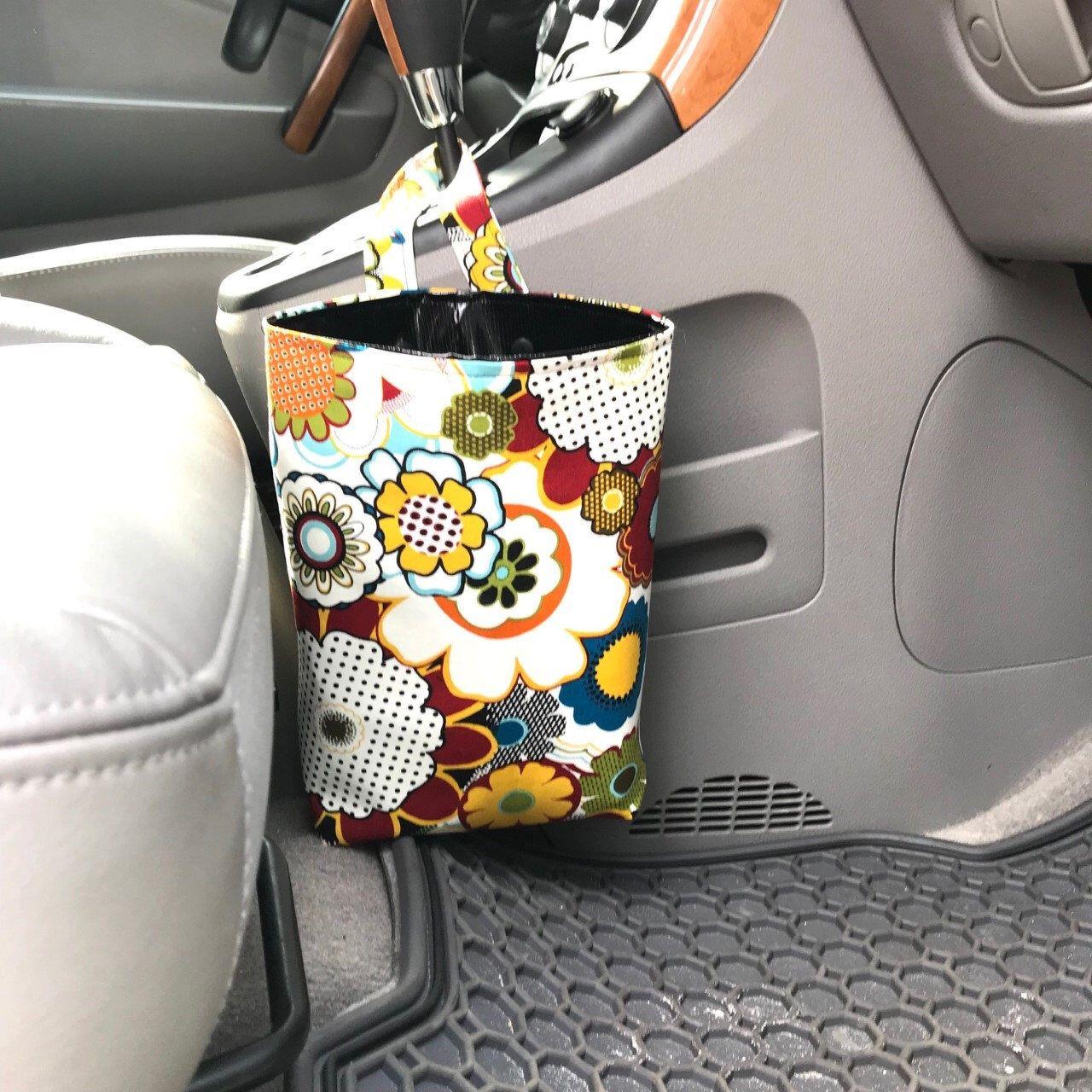 Hippie Floral Auto Trash Can, Floral Retro Car Garbage Bag