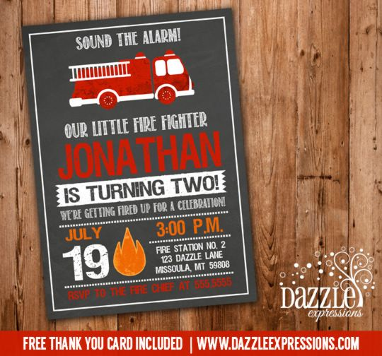 Printable Firetruck Chalkboard Birthday Invitation – Fire Truck Birthday Invitation