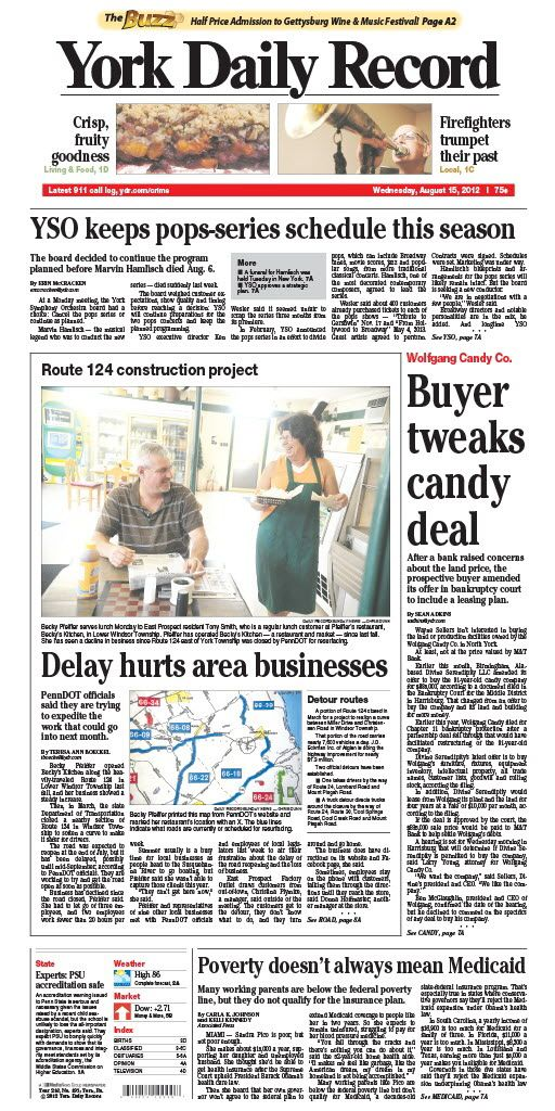 York Daily Record/Sunday News front page for Aug. 15, 2012