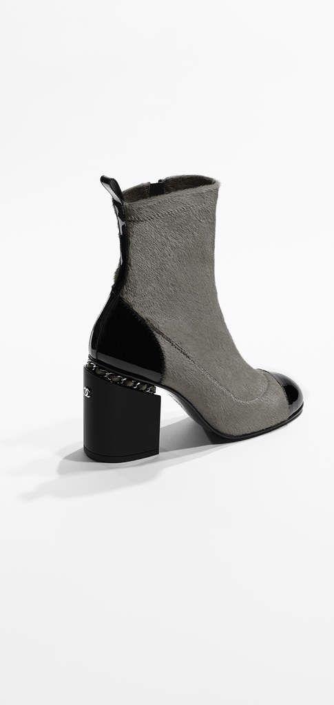 5330e995 Short boots, calf hair leather & patent calfskin-gray & black ...