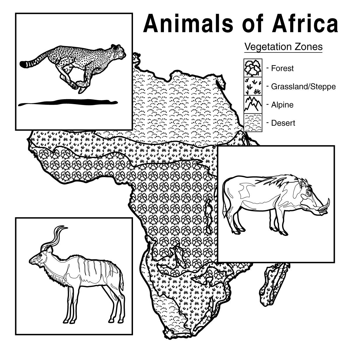African Animals With Habitat Vegetation Zone Chart
