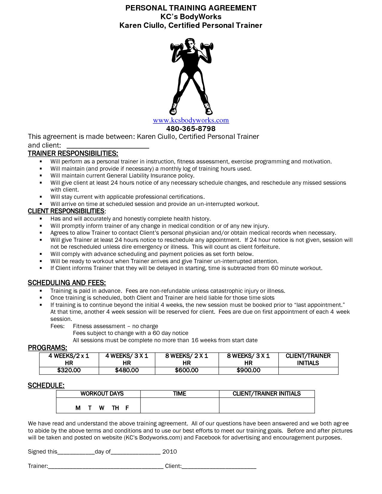 Personal Training Agreement Form Erkalnathandedecker