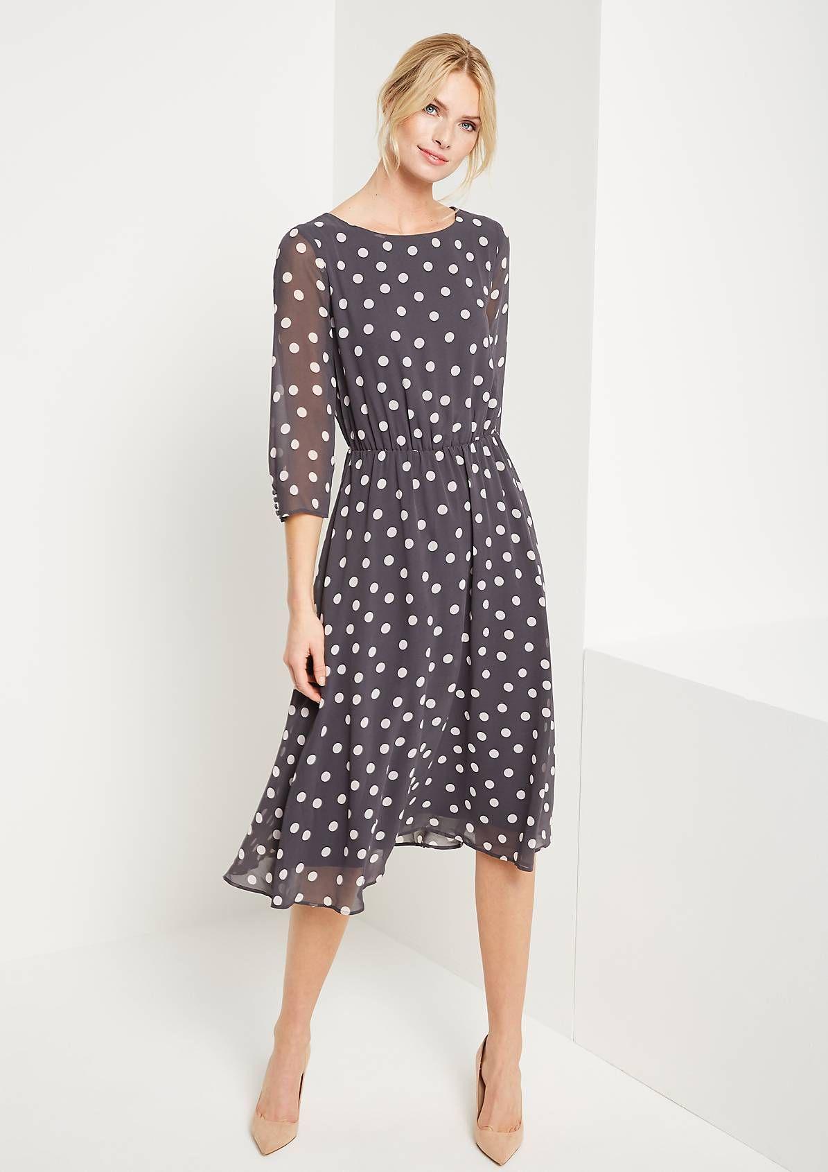 3/4-arm kreppkleid mit dot-muster | casual kleider