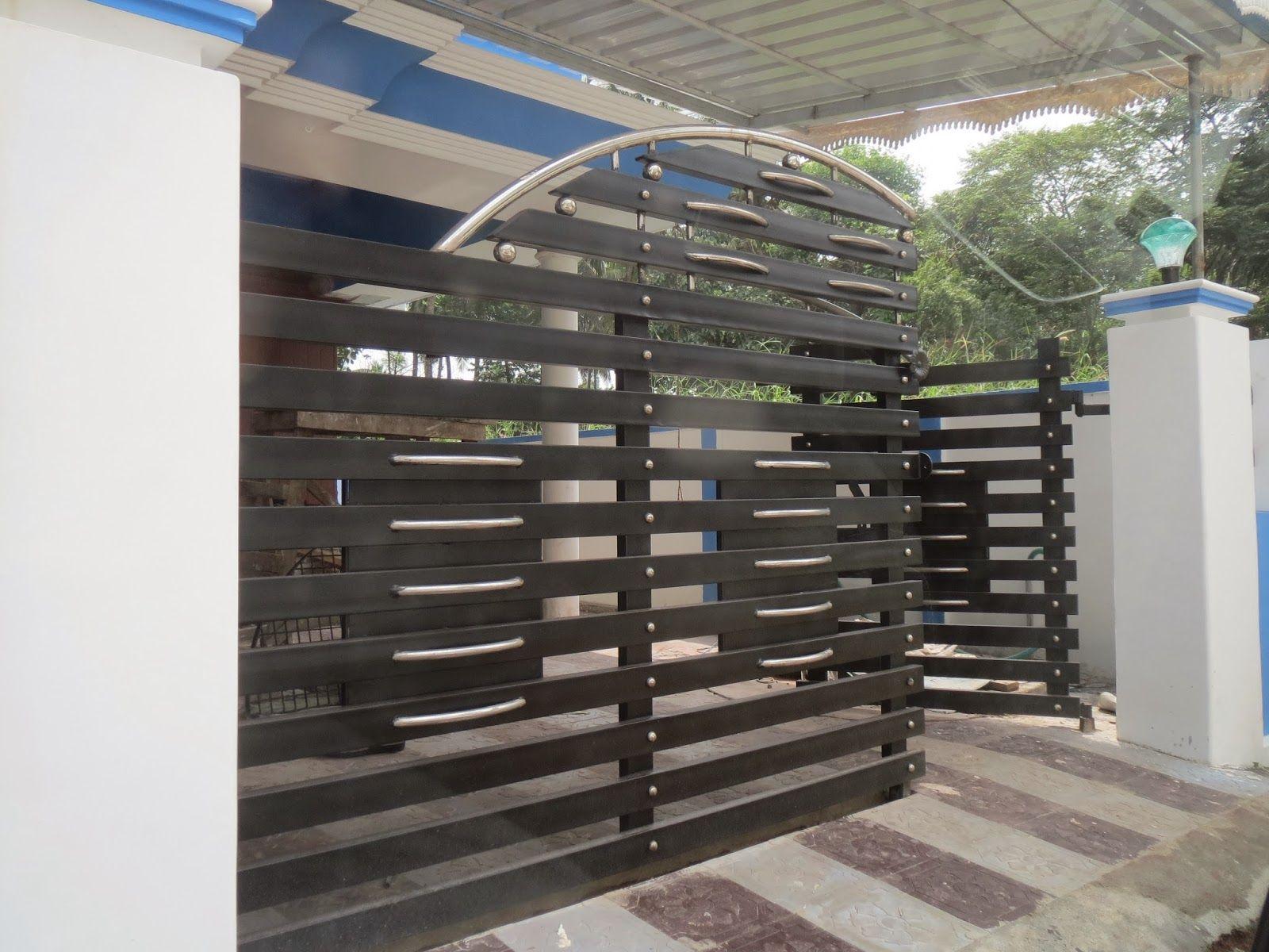 In cio Port o design minimalista casa Port o Designs No Paquist o. Silver colour gate with goden works in Kerala   Fachada   Portas
