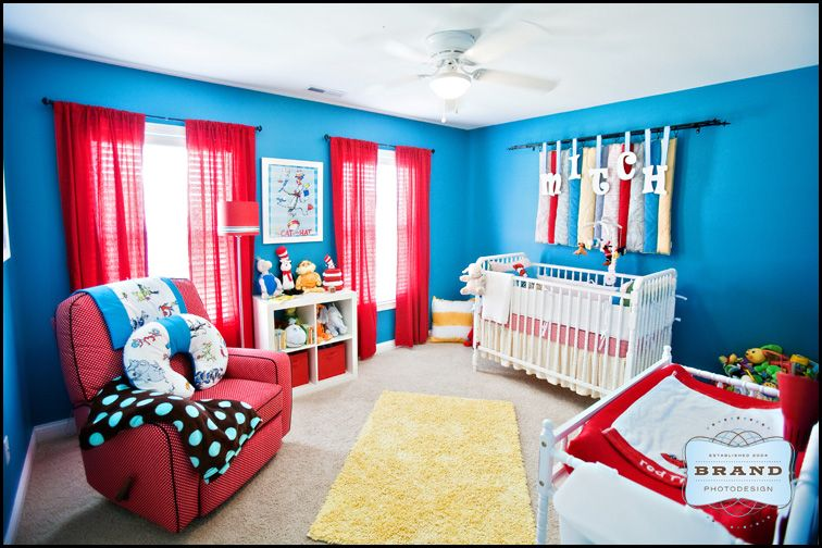 Wonderful Dr Suess Nursery   Blue Wall Color And Red Curtains