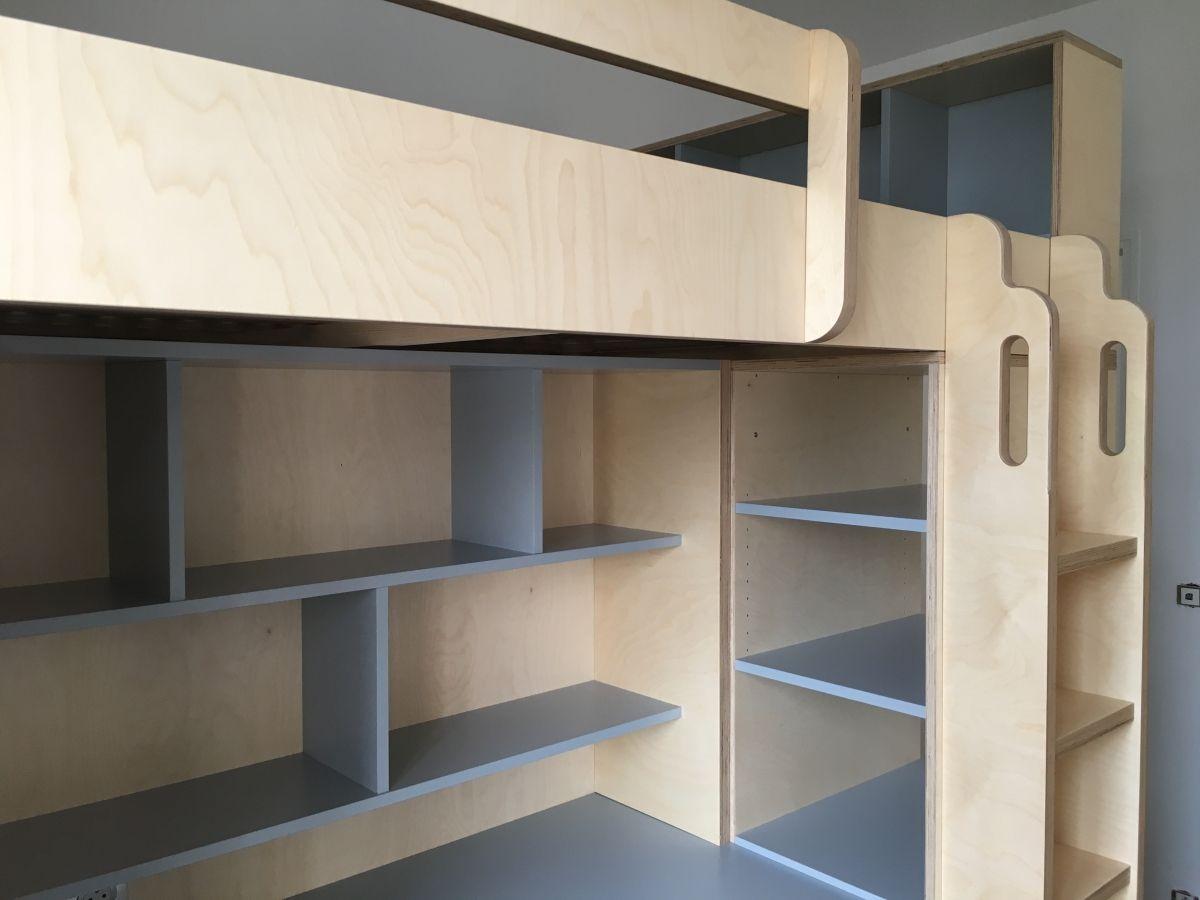 lit mezzanine sur mesure pour grand ado avec espace bureau et