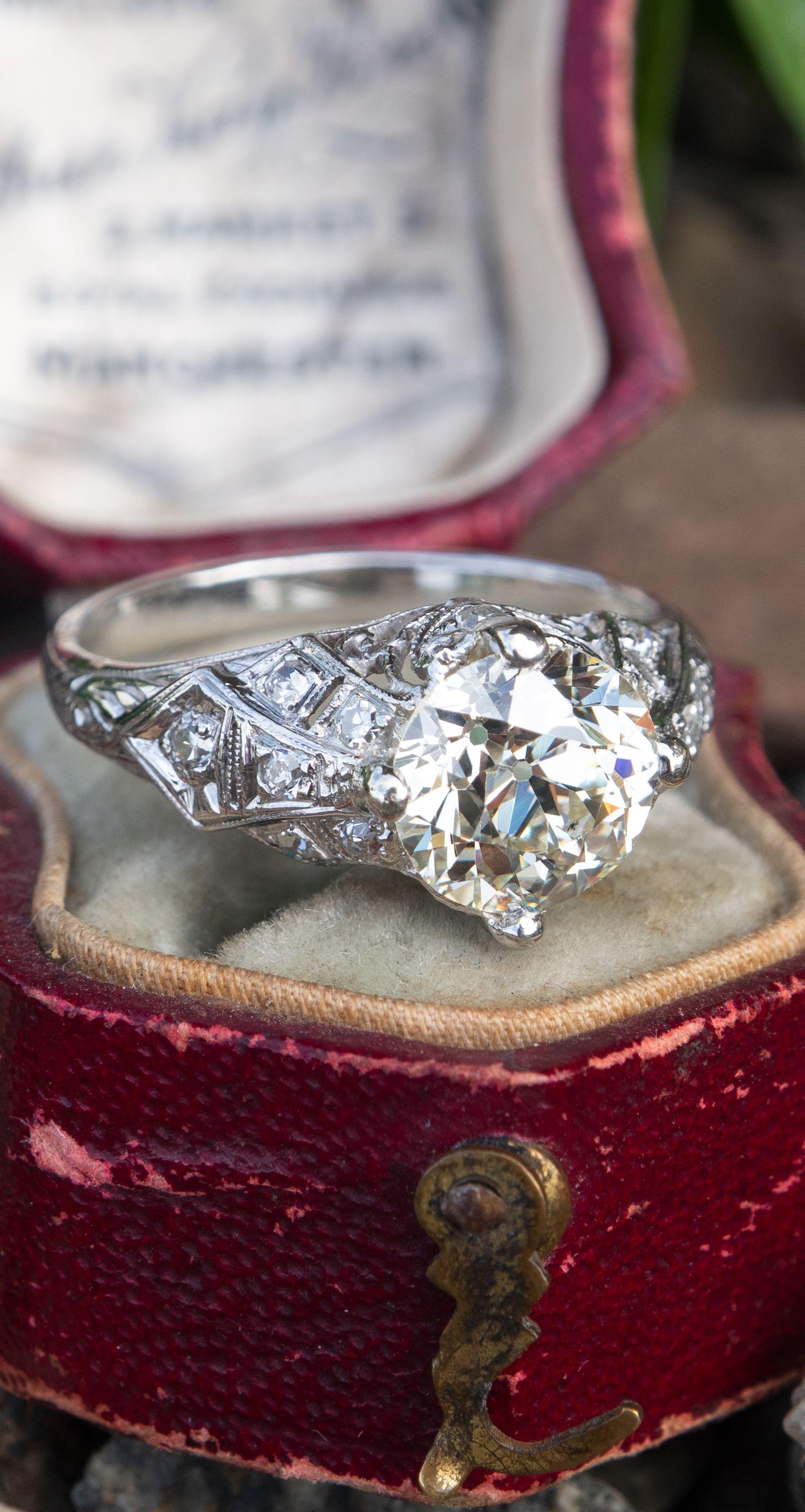 fd0d182e6e2c Filigree Art Deco Engagement Ring Old Euro Diamond GIA Cert Bijouterie